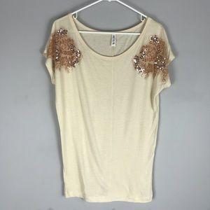VS tee shop sequin jeweled short sleeve top cream
